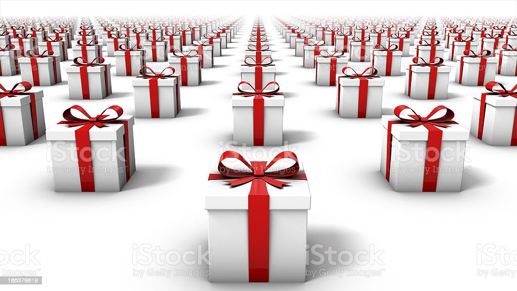 Front view of endless gift boxes stock photo