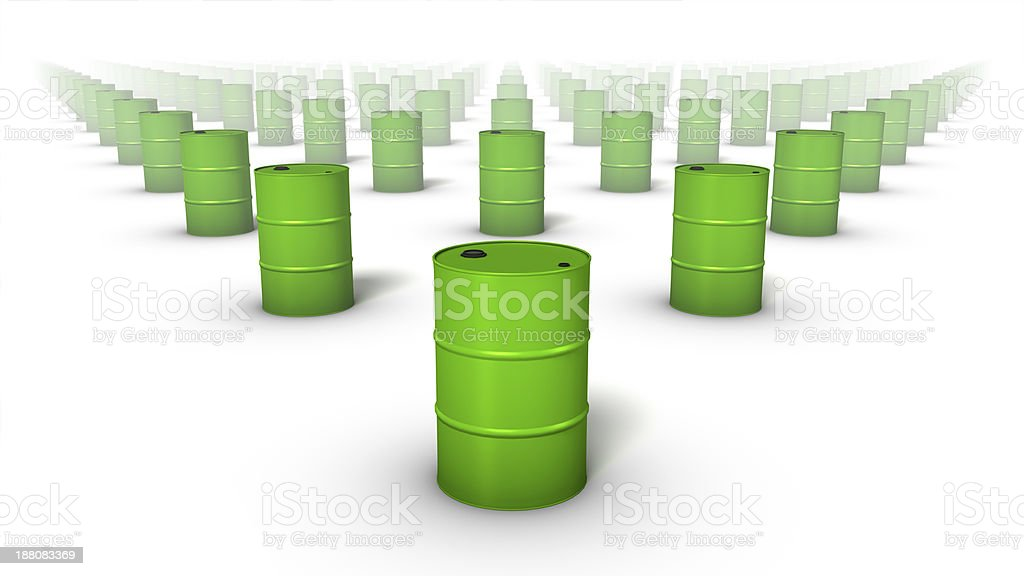 Front view of endless Oil Drums stock photo