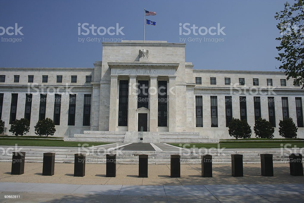 front view of federal reserve stock photo
