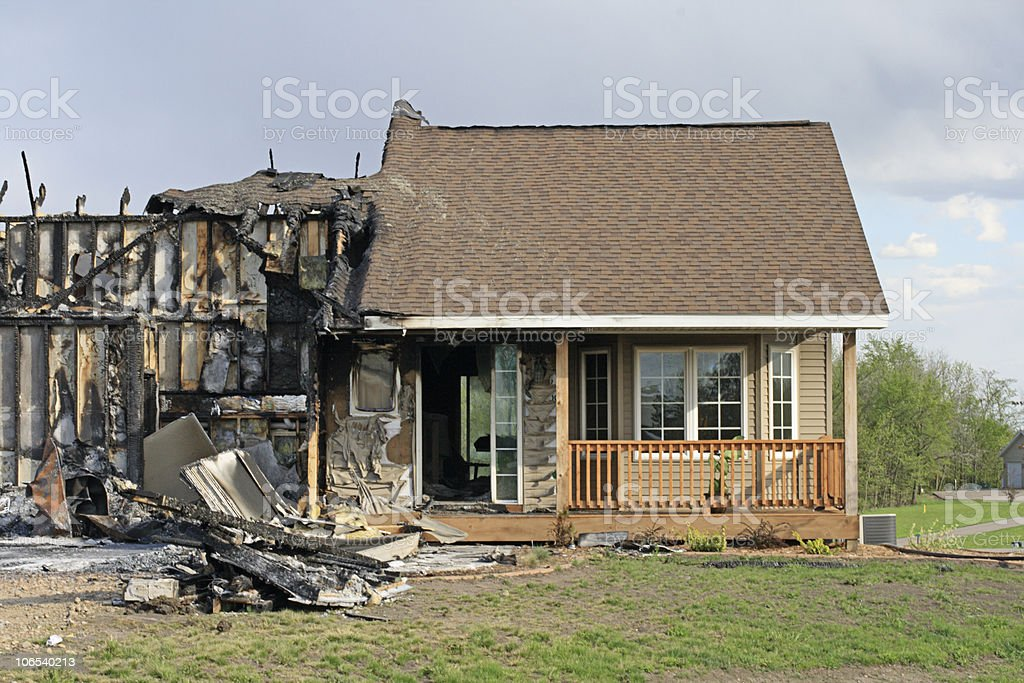 Front view of fire Damaged home