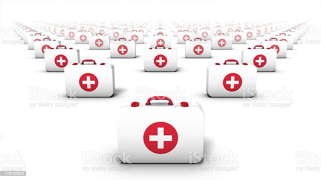 Front view of first aid kits stock photo