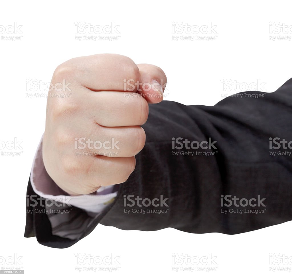 front view of fist - hand gesture stock photo