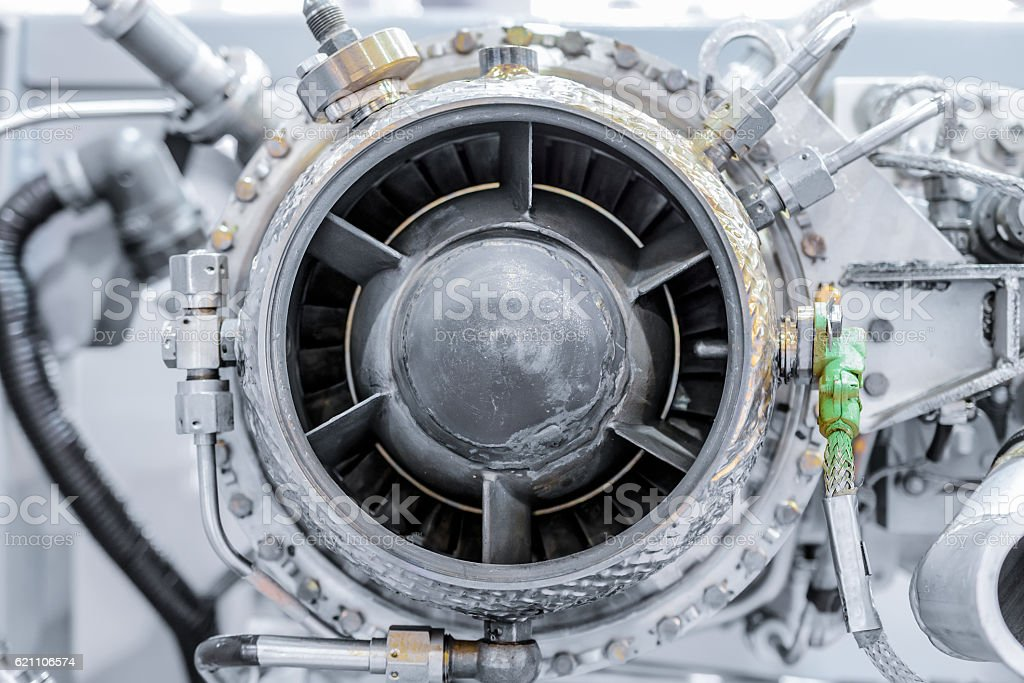 front view of gas-turbine auxiliary power unit stock photo