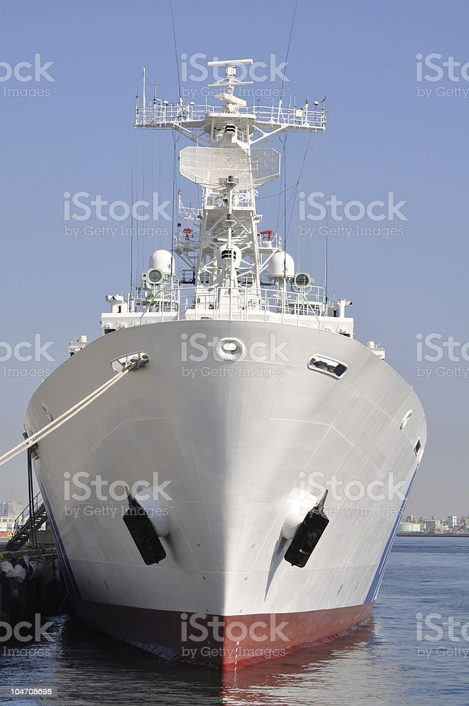 Front view of guard boat royalty-free stock photo