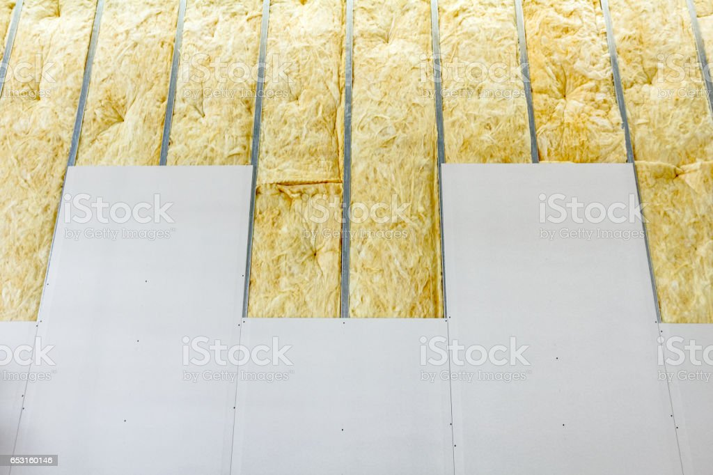 Front view of gypsum wall, plasterboard is under construction stock photo
