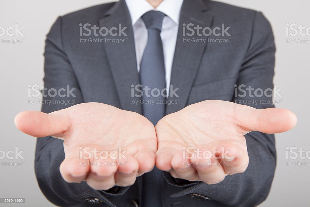 front view of handful from two palms stock photo