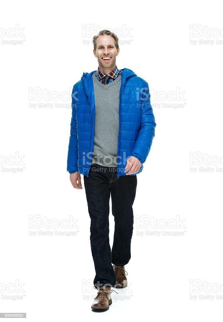Front view of happy man walking royalty-free stock photo