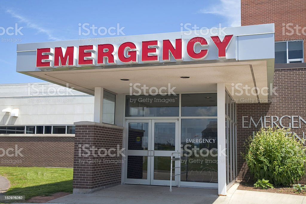 Front view of hospital emergency entrance stock photo