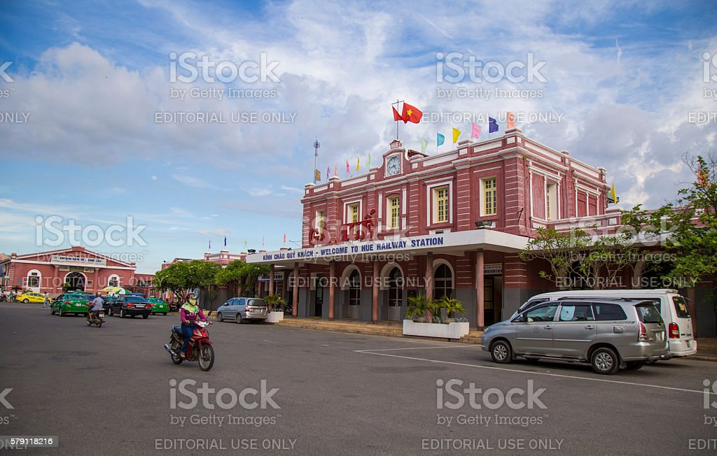 Front view of Hue Railway Station stock photo