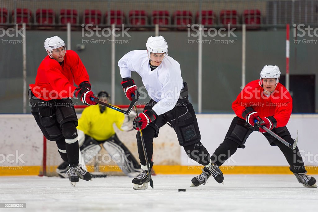 Front View of Ice Hockey Players in the Action stock photo