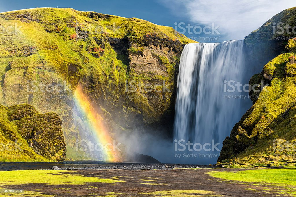 Front View of Iconic Skogafoss Waterfall, South Iceland, Rainbow stock photo