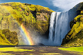 Front View of Iconic Skogafoss Waterfall, South Iceland, Rainbow