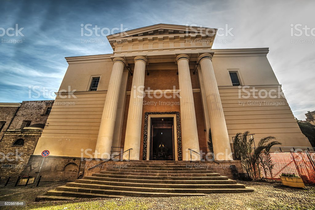 front view of Immacolata Concezione cathedral in Alghero stock photo