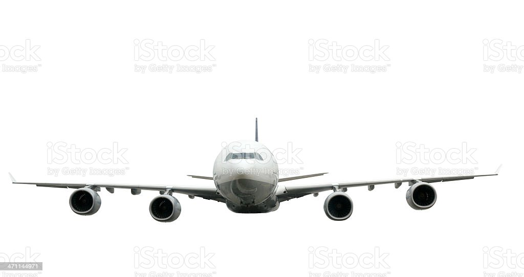 Front view of isolated airliner royalty-free stock photo