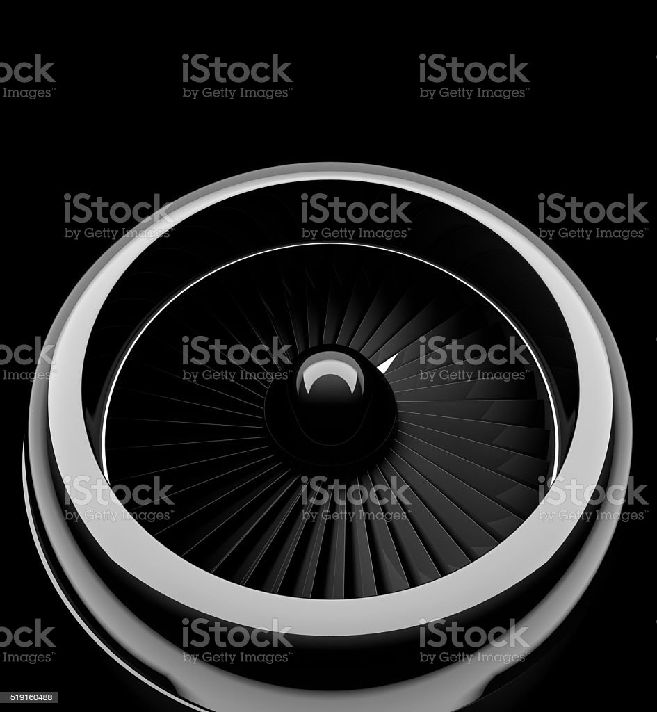 Front view of jet engine stock photo