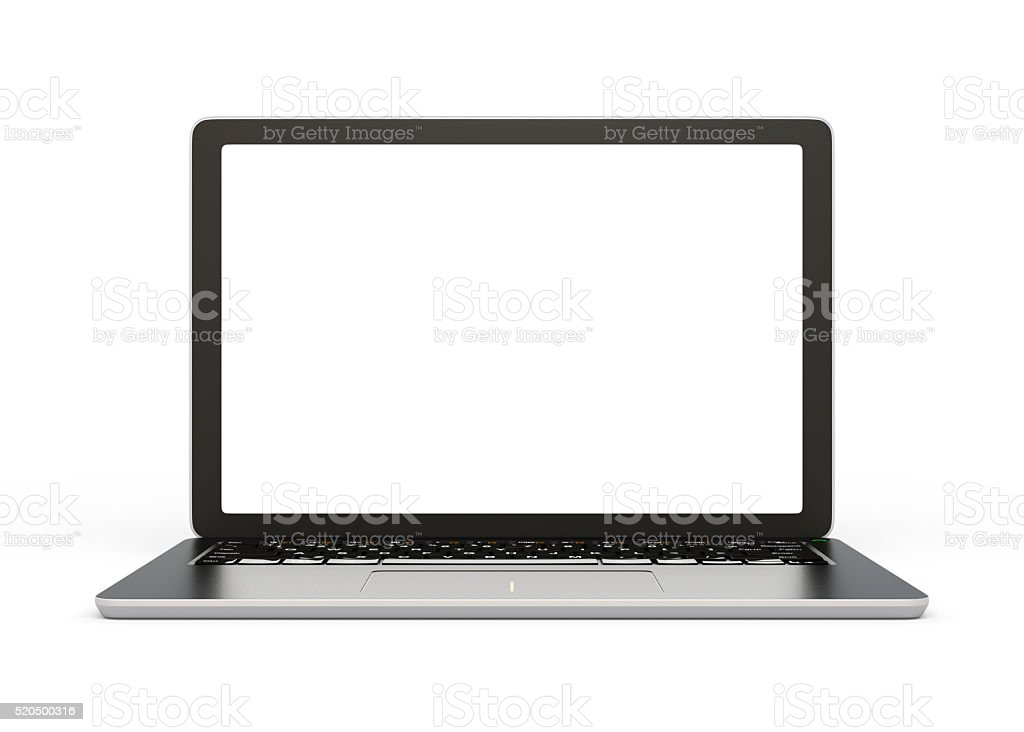 Front view of laptop computer with blank screen stock photo