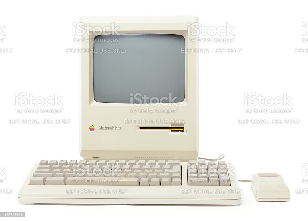Front View of Mac Plus Computer stock photo