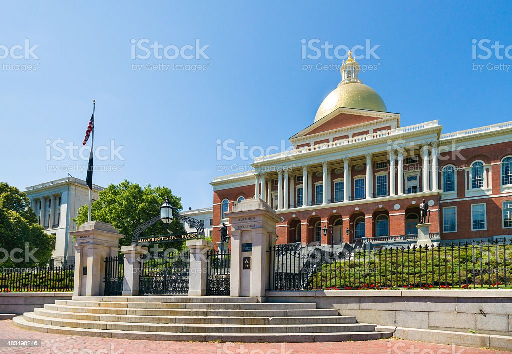 Front View of Massachusetts State Capitol in Boston stock photo