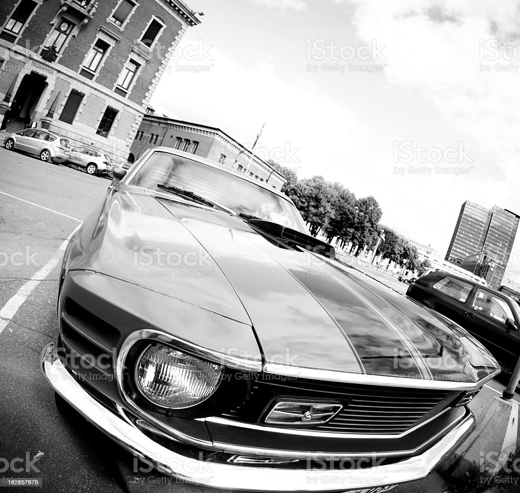 Front View Of Old American Muscle Car In Black White Stock Photo