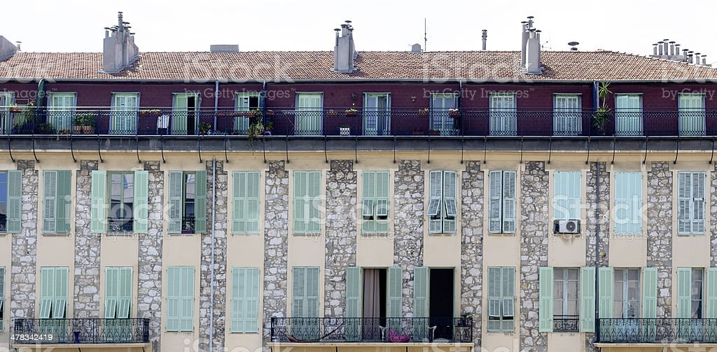 Front View Of Old Building with Shutters royalty-free stock photo