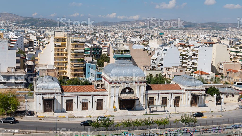 Front view of Railway station in Athens, Greece stock photo