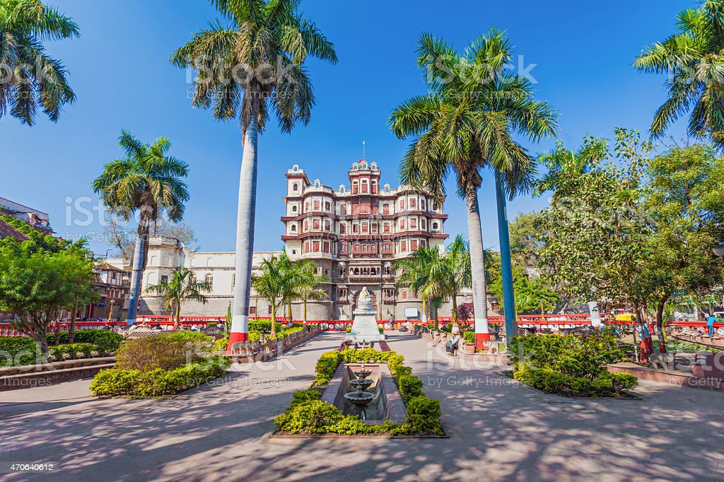 Front view of Rajwada Palace in Indore stock photo