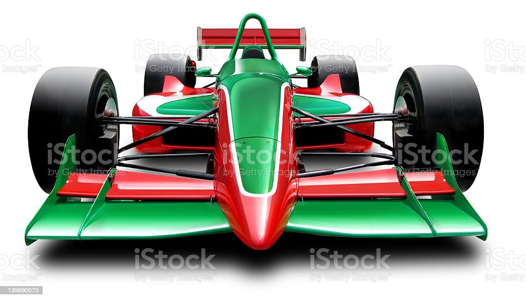 Front view of red and green Formula 1 car stock photo