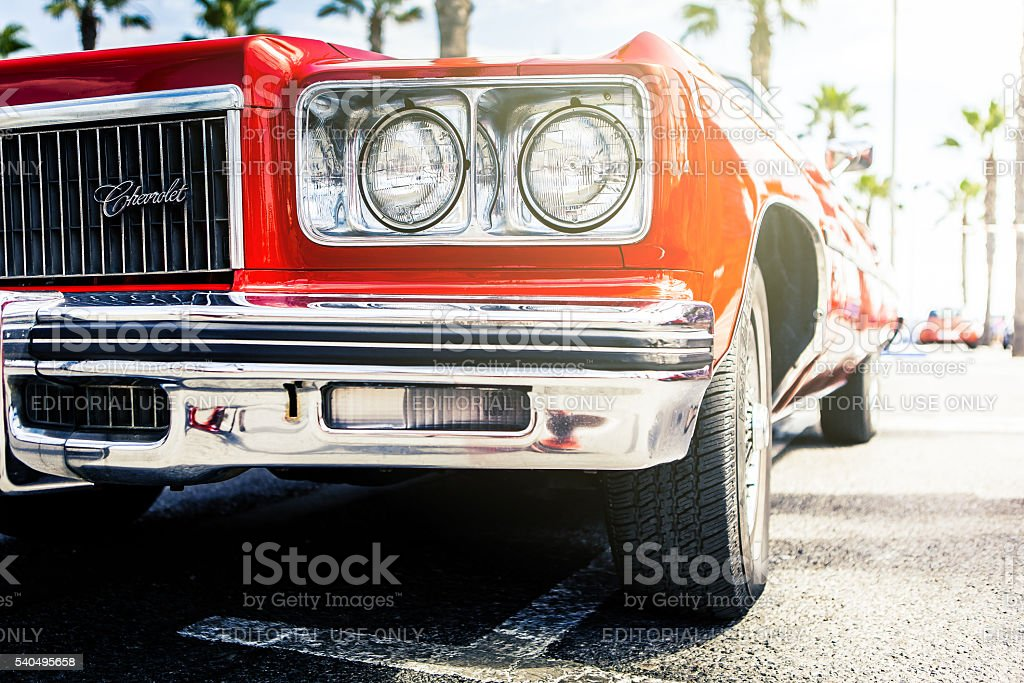 Front view of red classic Chevy. stock photo