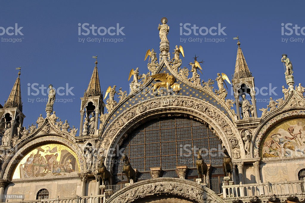 Front view of Saint Mark's Basilica, Venice, Italy royalty-free stock photo