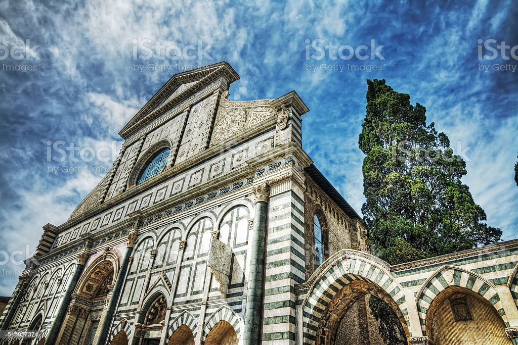 front view of Santa Maria Novella cathedral stock photo