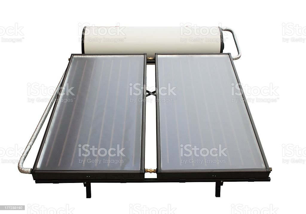 Front view of solar heater system stock photo