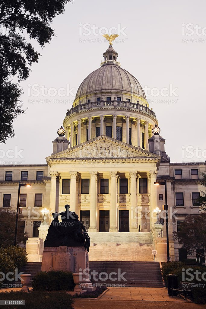Front view of State Capitol building in Jackson stock photo
