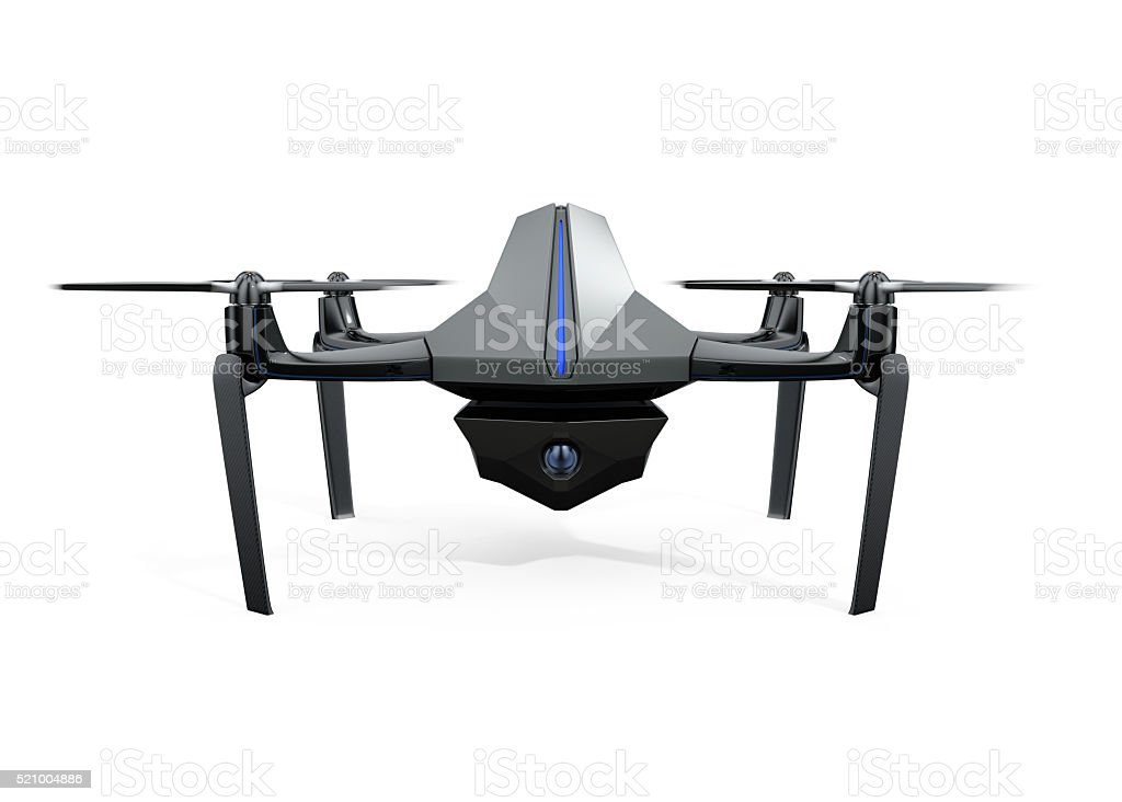 Front view of surveillance drone isolated on white background stock photo