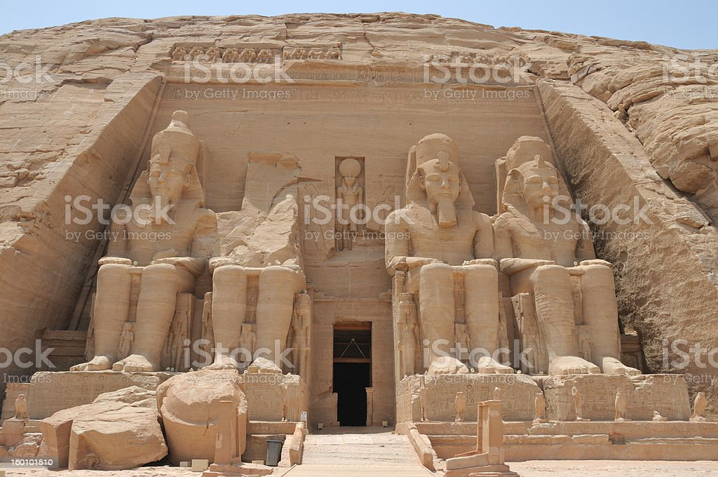 Front view of temple Rameses II, Abu Simbel stock photo