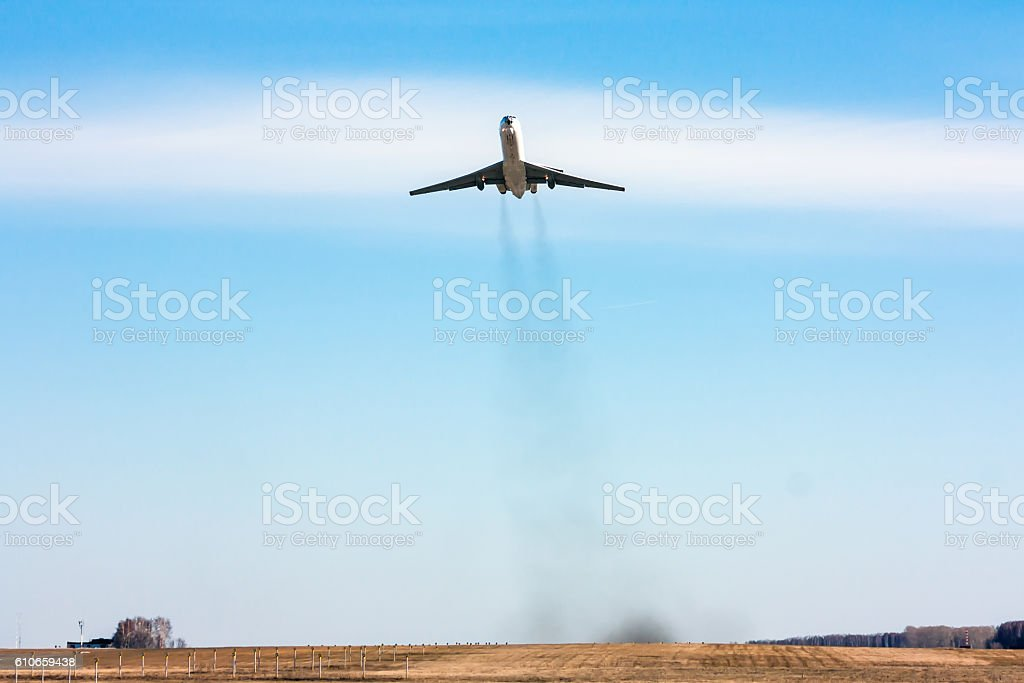 Front view of the aircraft taking off royalty-free stock photo