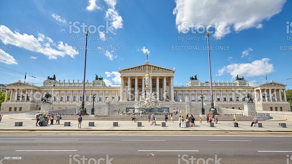 Front view of the Austrian Parliament Building. stock photo