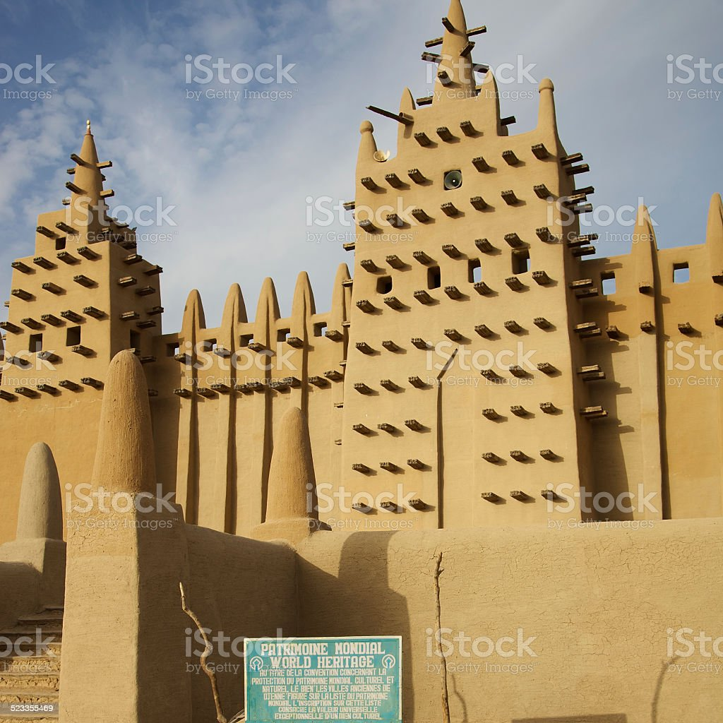 Front view of the Djenne mud mosque in Mali stock photo