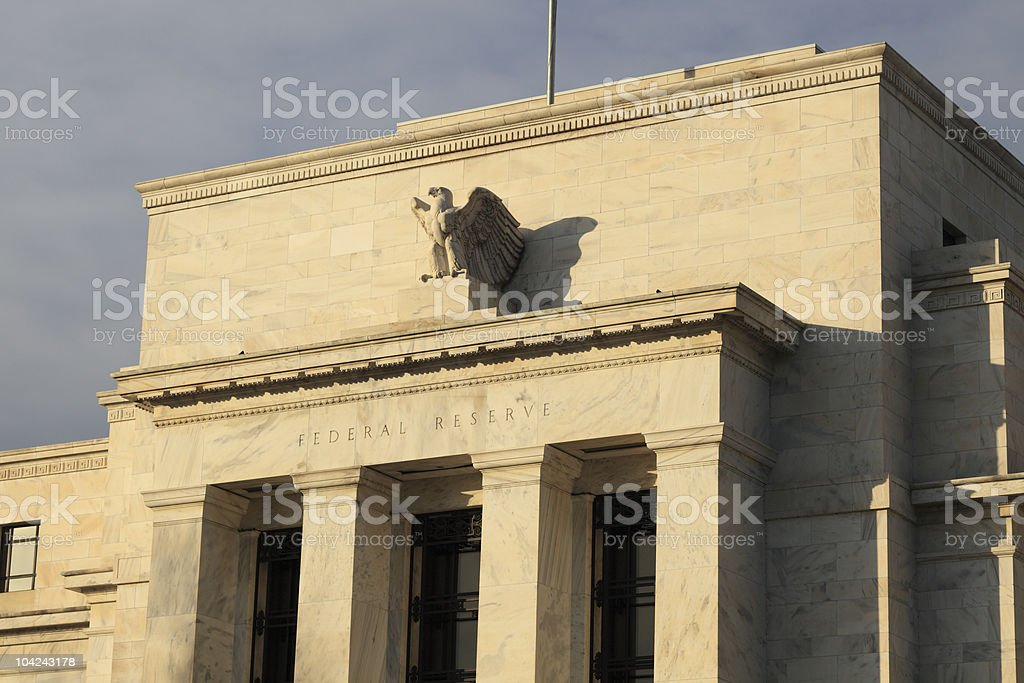 A front view of the Federal Reserve Bank stock photo