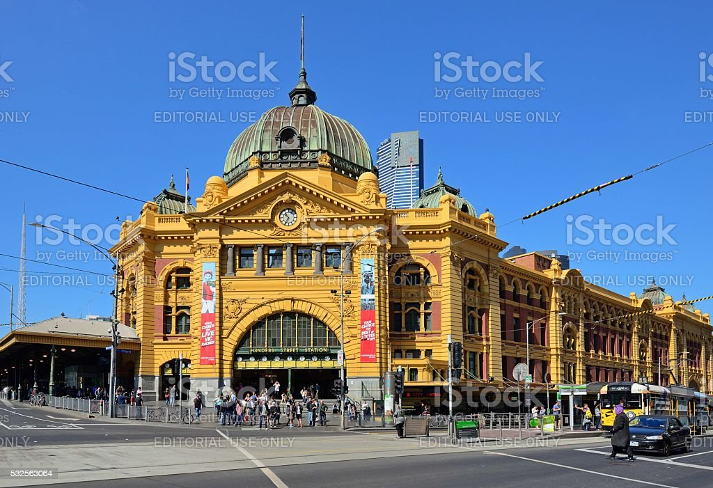 Front view of the Flinders Street Station stock photo