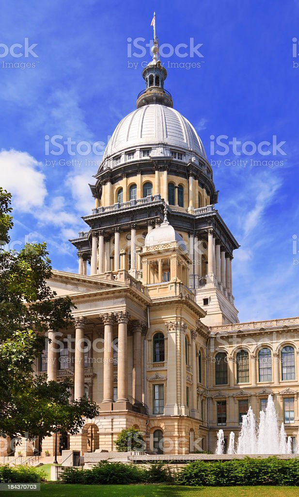 Front view of the Illinois capital building in Springfield stock photo