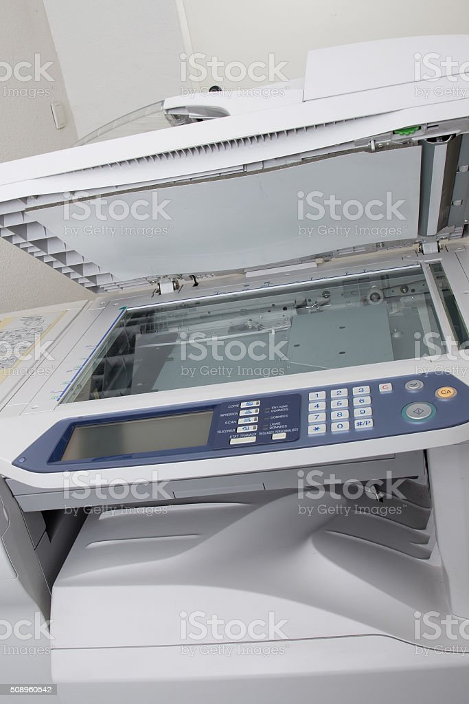 Front view of the office photocopier with numeric pad stock photo