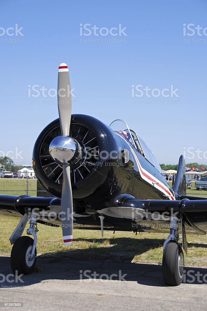 Front view of vintage airplane royalty-free stock photo