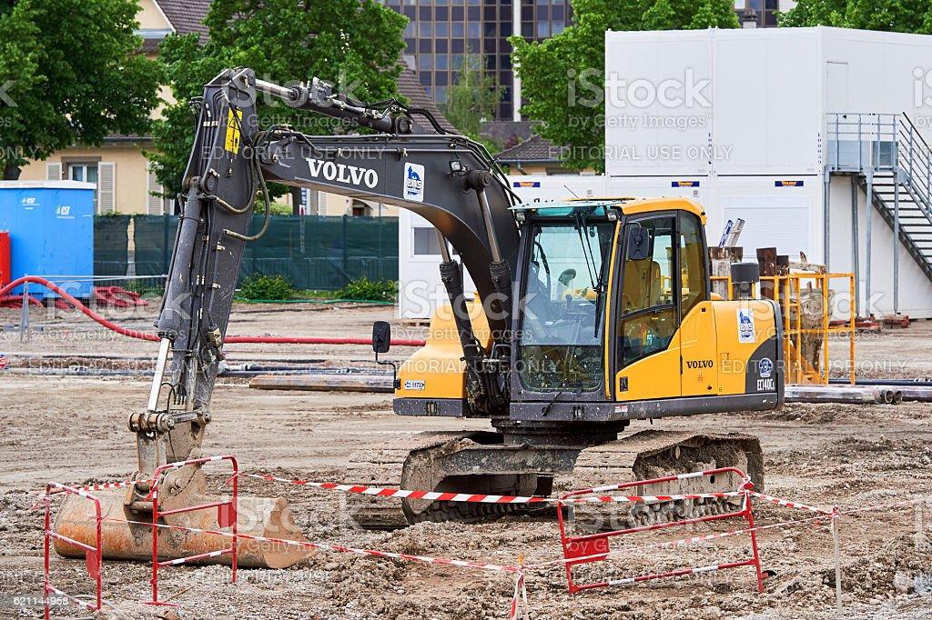 Front view of VOLVO excavator stock photo