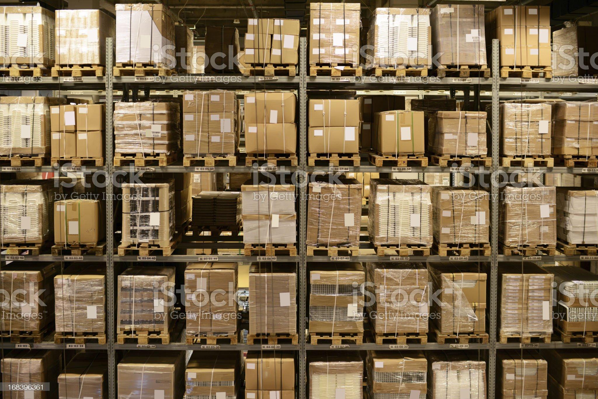 Front View of Warehouse and Cargo Shelf - XXXXXLarge royalty-free stock photo