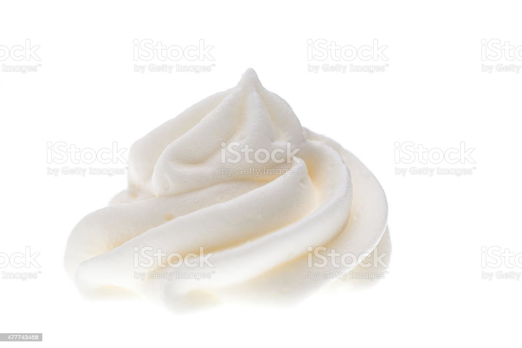 front view of whipped cream isolated on white background stock photo
