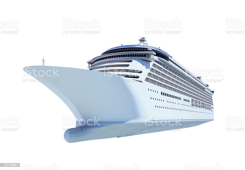 Front view of white cruise ship against blank background stock photo
