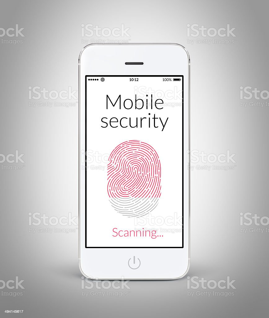 Front view of white smart phone with mobile security fingerprint stock photo