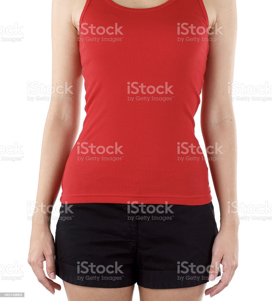 Front view of woman wearing blank red t-shirt royalty-free stock photo