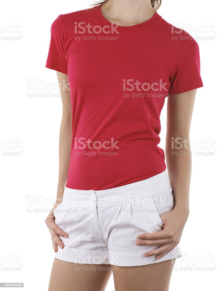 Front view of woman wearing red grey t-shirt royalty-free stock photo