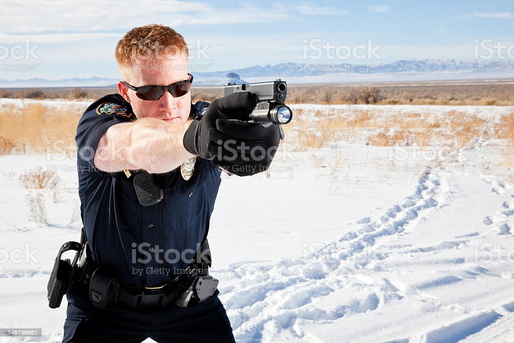 Front View Officer Aiming Gun royalty-free stock photo
